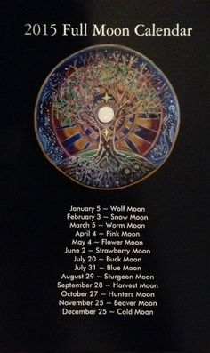 2015 Full Moon Calendar tree of life Mandala by SoulArteEclectica $8.50 the pink moons on my bday!!!
