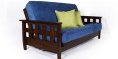 awesome futon sofa blue with 2 cushions - futon store
