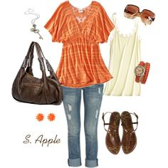 """Orange Stripes"" by sapple324 on Polyvore"
