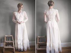 Vintage Gunne Sax Tulle Dress  Rustic Romantic by ThriftyMartUSA