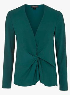TOPSHOP Green Solid Blouse with a black high waisted skirt or shorts.