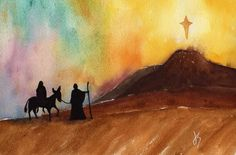 watercolor nativity scene - The Long Journey