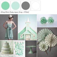 Mint, Dusty Aqua, Gray + White  http://www.theperfectpalette.com/2012/04/mint-to-be-palette-of-mint-dusty-aqua.html