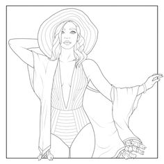 People Coloring Pages, Coloring Pages For Girls, Coloring Book Pages, Coloring Sheets, Barbie Coloring, Kinds Of Colors, Color Fashion, Prismacolor, Line Art