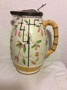 "19th C. English Brownhills Pottery ""Japanese"" Stoneware Pewter Lid Jug"