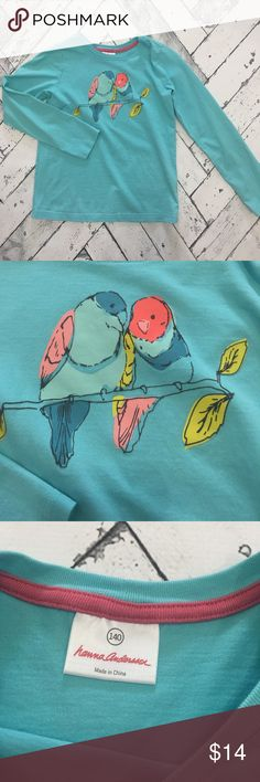 "Hanna Andersson Bird Print Long Sleeve Tee Hanna Andersson Bird Print Long Sleeve Tee. Excellent condition. Size 140 or 9-12 years. Robins egg blue. Measures 20"" long and chest is 30"" around. Hanna Andersson Shirts & Tops Tees - Long Sleeve"