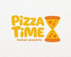 Логотип, пицца, время, часы