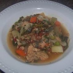 Salmon Stew Recipe.  I used canned tomatoes and added canned green beans.  Very tasty.