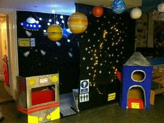 A super Outer Space classroom role-play area photo contribution. Great ideas for your classroom! Space Preschool, Space Activities, Preschool Activities, Space Theme Classroom, Classroom Displays, Physics Classroom, Dramatic Play Area, Dramatic Play Centers, Outer Space Theme