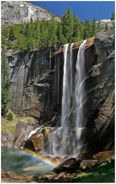 Vernal Fall is a waterfall on the Merced River just downstream of Nevada Fall in Yosemite National Park, California. California National Parks, Yosemite National Park, California Usa, Northern California, All Nature, Amazing Nature, Beautiful Waterfalls, Beautiful Landscapes, Places To Travel