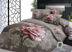 Dun Brown Pink Rose Cotton Bedding