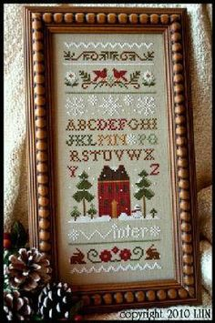 """This cross stitch pattern is from Little House Needleworks and is titled """"Winter Band Sampler"""" and is stitched with DMC threads. Just a bea..."""