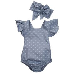 2c93434384341 2 Piece Polka Dot Romper with Headband – TenBazaars Lace Romper, Denim  Romper, Baby