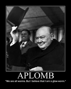 "APLOMB: ""We are all worms. But I believe that I am a glow-worm.""  ~ Sir Winston Churchill"