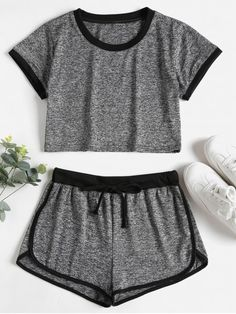 Dark Gray Summer Others Flat Drawstring Mid Short Crew Skinny Casual Beach Contrasting Binding Crop Top Shorts Tracksuit Cute Lazy Outfits, Sporty Outfits, Stylish Outfits, Work Outfits, Summer Outfits, Crop Top And Shorts, Crop Top Outfits, Girls Fashion Clothes, Teen Fashion Outfits