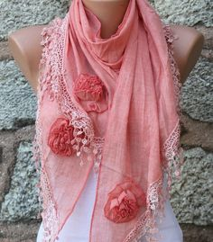 Tea Rose Scarf  Pure Cotton  Headband Necklace Cowl by fatwoman, $23.00