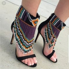 Description: Suede and beads , free spirit look. Beaded Shoes, Beaded Sandals, Beaded Anklets, Cute Shoes, Me Too Shoes, Bohemian Shoes, Shoe Boots, Shoes Heels, Beaded Jewelry Patterns