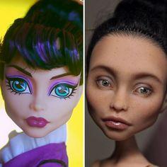 Olga Kamenetskaya Takes Craftsmanship Of Dolls To A Whole Different Level Custom Monster High Dolls, Monster High Repaint, Custom Dolls, Selfies, Photoshop, Ooak Dolls, Art Dolls, Creative Eye Makeup, Hooded Eye Makeup