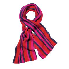 You're getting warmer in a bright, striped scarf that you won't want to take off.FEATURES• Slit to securely tie at neckMATERIALS• Acrylic CAREMachine wash and dry.