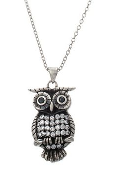 Sterling Silver Rhodium CZ Polished Owl Necklace