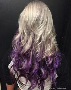 blonde to purple long ombre hair (purple hair ideas)
