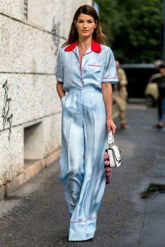 Hanneli Mustaparta wearing a babyblue Prada pyjama and white bag outside Prada during the Milan Men's Fashion Week Spring/Summer 2017 on June 2016 in Milan, Italy. Fashion Mode, Star Fashion, Fashion Outfits, Womens Fashion, Fashion Tips, Fashion Trends, Fashion Bloggers, Latest Fashion, Fashion Ideas