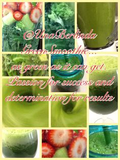 Green smoothie. GreenSmoothie... With strawberries Kale, collard greens, broccoli, celery, strawberries, cold green tea, ice, teaspoon of brown sugar. Toughest green smoothie to swallow. Good luck.