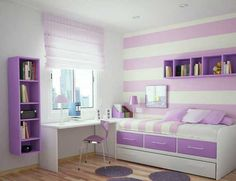 Small Purple and White Themes Design Room for Teenage Girls with Modern White Wood Bed Frame that have Purple Rectangle Shaped Three Drawers also Contemporary White Wood Study Desk that have Chair on the Wood Flooring