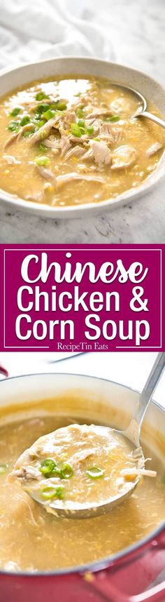 This Chinese Corn Soup with Chicken takes just 15 minutes to make - with no chopping! It's just like what you get at Chinese restaurants! www.recipetineats.com