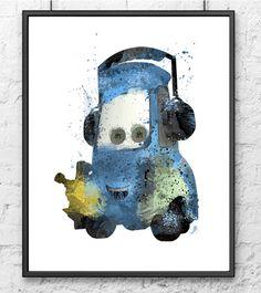 Disney car poster Watercolor Disney poster Cars by gingerkidsart