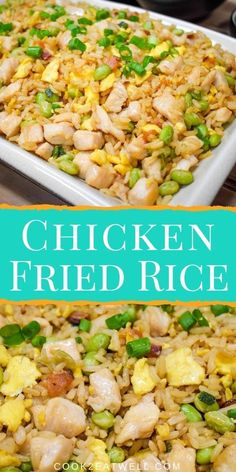 This chicken fried rice is a great weeknight dinner the family will really enjoy. In this recipe, chicken breast are seasoned, cooked in bacon drippings and then combined with crispy bacon, eggs, edamame and green onions. So drop the take-out menu and make this take-out classic at home. Yummy Chicken Recipes, Recipe Chicken, Chicken Bacon, Yum Yum Chicken, Take Out Menu, Ways To Cook Chicken, Bacon Fries, Bacon Egg, Edamame