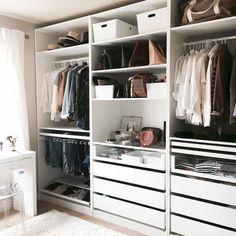 37 ideas for bedroom wardrobe storage ikea pax closet system Ikea Pax Wardrobe, Ikea Closet, Wardrobe Closet, Drawers In Closet, Capsule Wardrobe, Closet Wall, Closet Redo, White Wardrobe, Closet Office