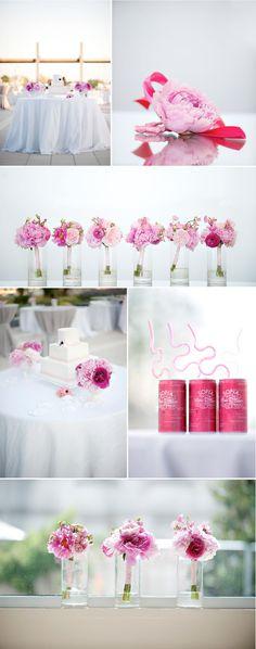 pretty in pink flower center pieces. soooo pretty.