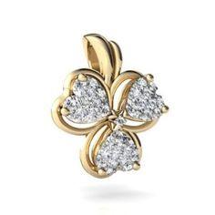 14K Yellow Gold White Diamond Irish Shamrock - Jewelry Gifts for St. Patrick's Day