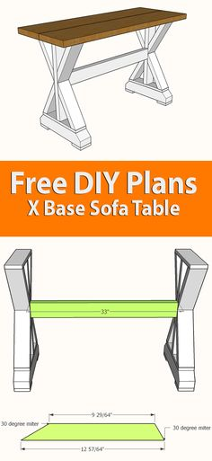 These DIY X-base sofa table plans are a simple way to make your own rustic sofa table or entry way table, and are easy to adjust to any width. I've drawn them out for a table that is four feet in length, to make it convenient to use just one How Farmhouse Sofa Table, Rustic Sofa Tables, Wood Sofa Table, Entry Tables, Entry Table Diy, Pallet Tables, Pallet Sofa, Entry Furniture, Painting Wooden Furniture