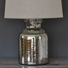 Tarnished Silver Bottle Lamp And Shade