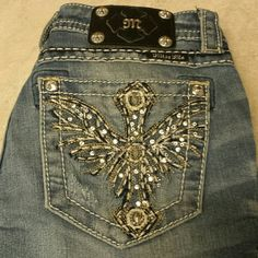 "Miss Me  Cross with Wings Boot Cut Bling Jeans! Miss Me Boot Cut Bling Jeans, cross with Wings on back pockets. Size 27, inseam 30"". EUC. Miss Me Jeans Boot Cut"