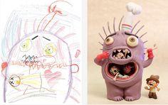 Artists Recreate Kid Monster Art in Their Own Style to Encourage Kids' Imaginations — GeekTyrant Monster Art, Monster Drawing, Drawing For Kids, Art For Kids, Projects For Kids, Art Projects, Art Hipster, Art Tumblr, Multimedia Artist