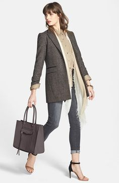 Laundry by Shelli Segal Coat, Nordstrom Cashmere Wrap, Halogen® Shirt & NYDJ 'Ami' Super Skinny Jeans  available at #Nordstrom