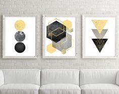 Set of 3 Geometric Printables Yellow Black and Silver Wall Art Sets, Diy Wall Art, Wall Decor, Minimalist Artwork, Minimalist Poster, Trending Art, Free Printable Art, Bathroom Wall Art, Bedroom Wall