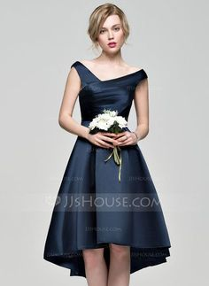[US$ 101.49] A-Line/Princess Off-the-Shoulder Asymmetrical Satin Bridesmaid Dress With Ruffle