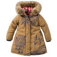 Are ewe kidding me? Look at this Oilily Brown Canvas Faux Fur Trim Hooded Puffer Coat - Toddler & Girls on today! Fashion Kids, Little Girl Fashion, My Little Girl, Baby Outfits, Kids Outfits, Bebe Love, Kid Styles, Kind Mode, Kids Wear