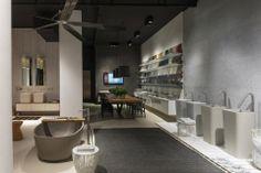 NEUTRA Flagship Store in milan - water_wellness_stone. #bathroom #spa #design #bathtube #washbasin