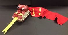 Chinese Dragon Puppets.  Made from egg cartons.