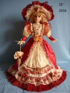 Beautiful! ...jw Victorian Porcelain Doll Red and Cream Dress hat and rose 26 in
