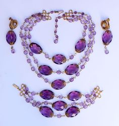 "Vintage ""Miriam Haskell"" Necklace Bracelet & Earrings"