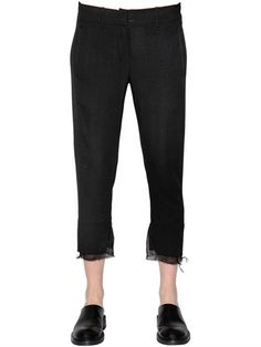 ANN DEMEULEMEESTER Cropped Straight Wool Crepe Pants, Black. #anndemeulemeester #cloth #pants