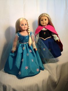 "Disney inspired Frozen Snow Queen and Anna American Girl or 18"" doll costume on Etsy, $70.00"