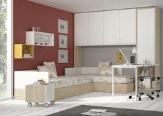 Camas nidos, con escritorio, estanterías y armario con puente.