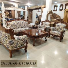 Transform your houses into Dream Homes. Order now: 299 9135 Living Room Sofa, Living Room Furniture, Indian Sofa, Wooden Sofa Set Designs, Floral Sofa, 2 Storey House Design, Indian Home Interior, Indian Living Rooms, Barbie Furniture